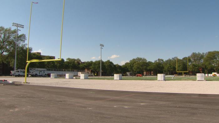 The yet-to-be-finished football field outside Englewood STEM High School