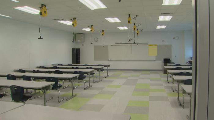 A classroom inside Englewood STEM High School