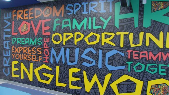 A community-based mural inside Englewood STEM High School.