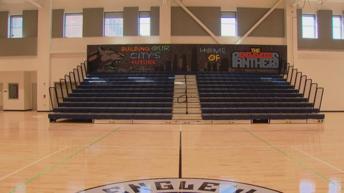 The gymnasium inside Englewood STEM High School