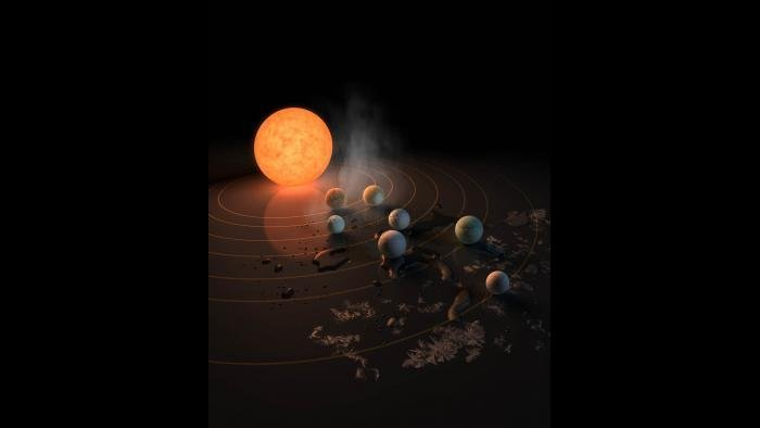 An artist's concept of the TRAPPIST-1 planetary system. (NASA / JPL-Caltech)