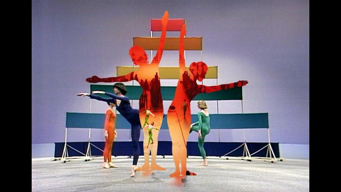 Composite image: Merce Cunningham Dance Company performs November 2003. (Gigi Giannella, Frank Stella)