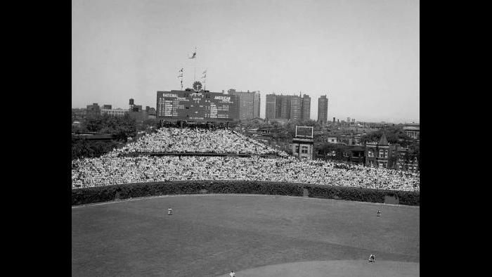 Wrigley Field outfield scoreboard, 1948.