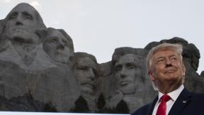 President Donald Trump smiles at Mount Rushmore National Memorial, Friday, July 3, 2020, near Keystone, S.D. (AP Photo / Alex Brandon)