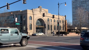"Harold Washington Cultural Center on 47th and King Drive, as seen in the student film, ""Bronzeville Documentary."""