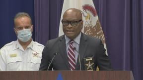 Chicago Police Superintendent David Brown speaks about weekend violence at a press conference Monday, June 29, 2020. (WTTW News via Chicago Police Department)