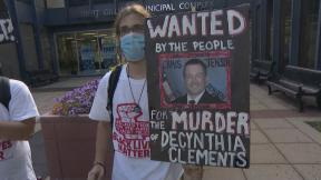 A protest outside of Elgin City Hall on Wednesday, June 24, 2020, over the fatal police shooting of Decynthia Clements in 2018. (WTTW News)