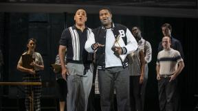 "Robert Sims and Tyrone Chambers, II in Chicago Opera Theater's ""Freedom Ride."" (Photo credit: Michael Brosilow)"