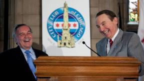 Paul Green, right, and Mayor Richard M. Daley (City Club of Chicago)