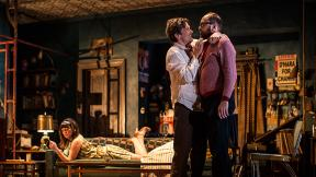 """Kristen Magee (Gloria), Chris Stack (Sidney Brustein) and Grant James Varjas (David) in """"The Sign in Sidney Brustein's Window"""" by Lorraine Hansberry. (Courtesy of Goodman Theatre)"""