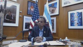 Mayor Lori Lightfoot presides over a virtual Chicago City Council meeting on Wednesday, June 17, 2020.