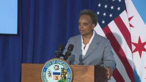 Mayor Lori Lightfoot speaks to the media following a meeting of the Chicago City Council on Wednesday, July 22, 2020. (WTTW News)
