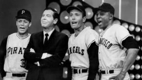 """Photo of Maury Wills, Milton Berle, Jimmy Piersall and Willie Mays in a salute to baseball on the television program """"The Hollywood Palace."""""""