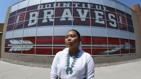 Lemiley Lane, a Bountiful junior who grew up in the Navajo Nation in Arizona, poses for a photograph at Bountiful High School, July 21, 2020, in Bountiful, Utah. (AP Photo/Rick Bowmer)